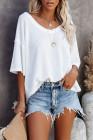 Camiseta blanca de punto de manga corta con cuello en V
