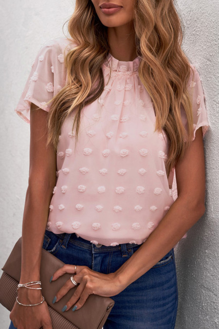 Camisetas de manga con volantes en rosa rubor con lunares suizos