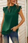 Camiseta sin mangas verde con volantes