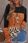 Top noir à manches longues et à imprimé tribal léopard