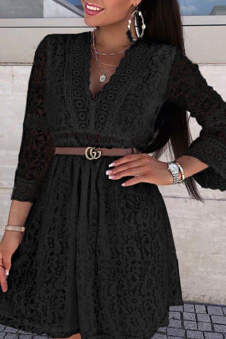 Черное кружевное мини-платье с v-образным вырезом и прозрачными рукавами