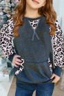 سويت شيرت للفتيات الصغيرات بأكمام ريجلان بطبعة جلد الفهد