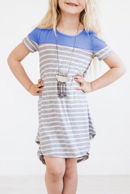 فستان بناتي مخطط أزرق سماوي مرقع