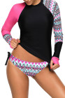Contraste Rosy Detalhe Long Sleeve Tankini Swimsuit