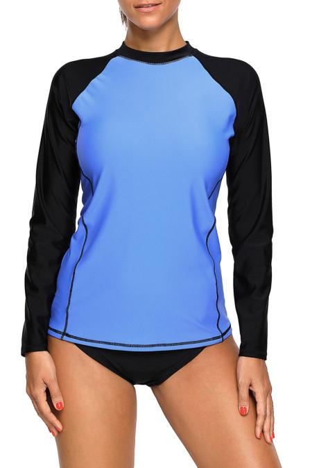 Haut de maillot de bain Rashguard Tankini Bleu Noir