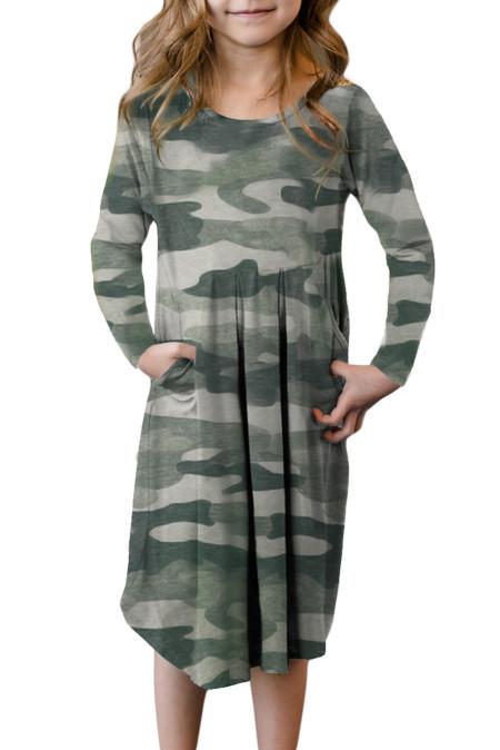 فستان مموه أخضر بجيوب مخفية