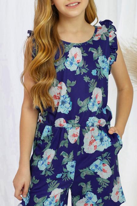 رومبير بناتي بدون أكمام مكشكش بطبعة زهور زرقاء