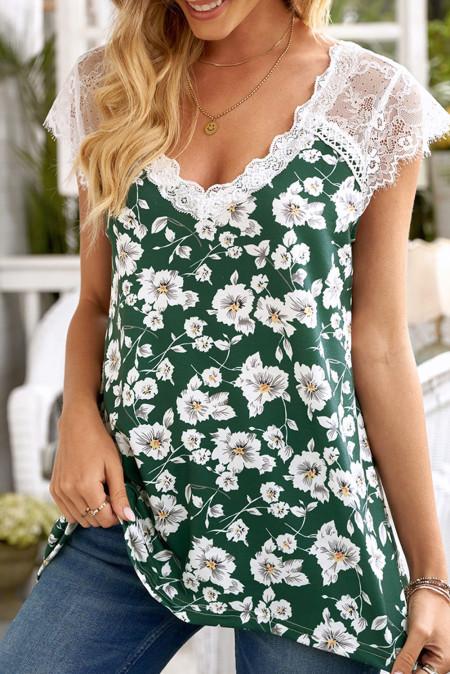 Camiseta sin mangas floral con cuello en V y pestañas verdes