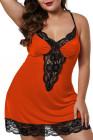 Nuisette Venecia orange avec bordure en dentelle