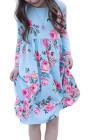 فستان أطفال بأزهار زرقاء فاتحة بجيوب مخفية