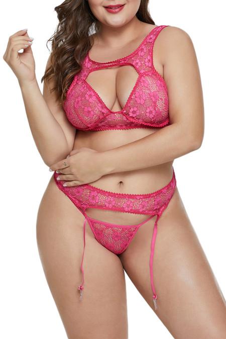 Juego de bralette de talla grande y busto de rosa hueca