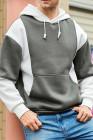 Белый мужской пуловер с цветными блоками с капюшоном и длинным рукавом
