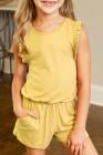 أصفر كشكش بلا أكمام رومبير الفتاة الصغيرة