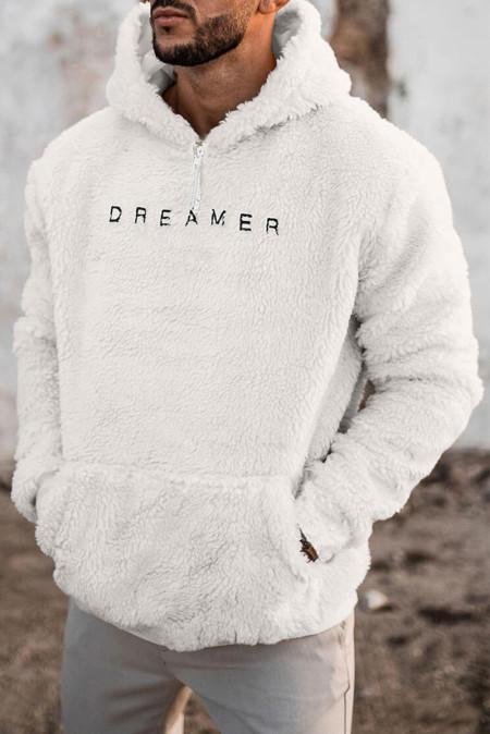 Sudadera con capucha de sherpa de manga larga bordada con letras blancas para hombre