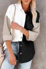Черная рубашка на пуговицах с цветными блоками и карманом