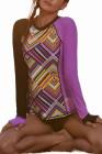 Rashguard à manches longues asymétrique à imprimé violet