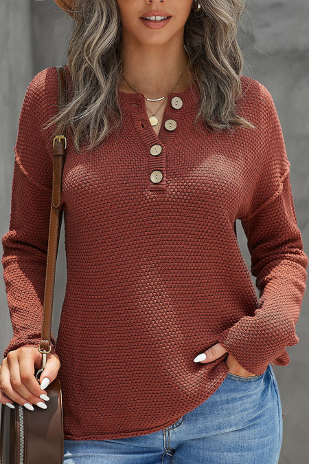 Пуловер Henley с заниженными плечами и разрезами