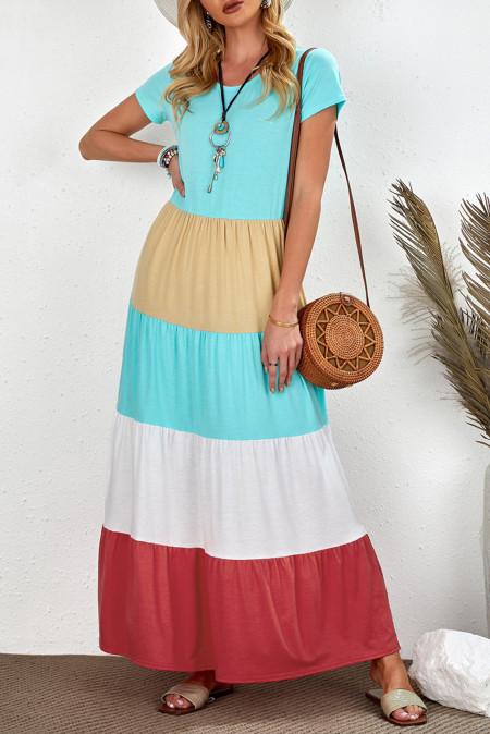 Подходящее для всей семьи платье макси с короткими рукавами для взрослых