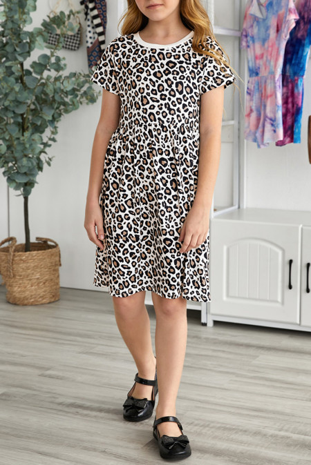 فستان قصير بكم قصير بطبعة جلد الفهد للفتيات الصغيرات