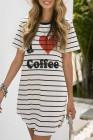 فستان بيجاما مخطط برسومات القهوة
