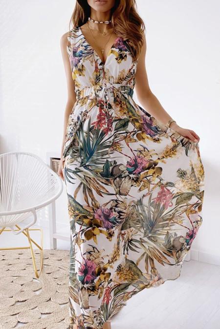 Белое платье макси без рукавов с V-образным вырезом и открытой спиной с цветочным принтом