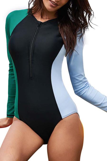 Rashguard Surf Block asymétrique à manches longues