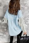 Голубая джинсовая куртка с контрастным леопардовым принтом
