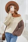 Suéter de punto asimétrico con bloques de color