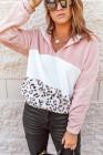 Sudadera rosa con capucha y cremallera de un cuarto de forro polar con bolsillo en color de leopardo