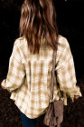 Camisa de cuadros amarilla con cuello vuelto