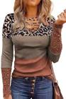 Коричневая рубашка с леопардовым вырезом и вырезом из кружева с цветными блоками