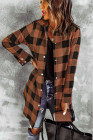 Коричневое пальто-рубашка в клетку с отложным воротником
