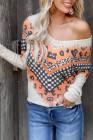 Blusa de cuadros con cuello en V cruzado y patchwork de leopardo