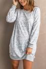 Vestido estilo sudadera de manga larga con estampado de leopardo