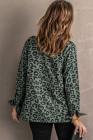 Зеленое леопардовое пальто на молнии с лацканами и кулиской