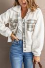Бежевая флисовая куртка в стиле пэчворк на пуговицах с отложным воротником