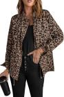 Abrigo de leopardo con cremallera y cuello de solapa marrón